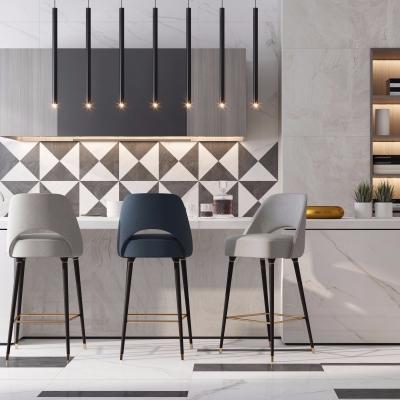 現代廚房櫥柜吧椅吊燈組合3D模型【ID:727813345】