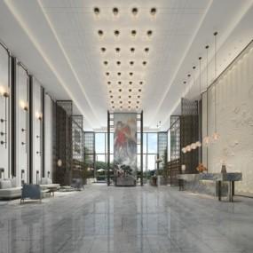 新中式大厅3D模型【ID:124896688】