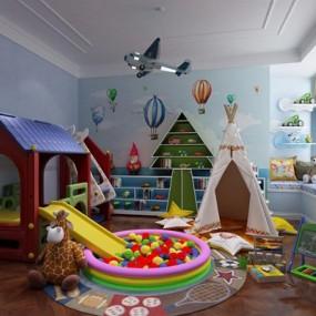 美式儿童房3D模型【ID:127857241】
