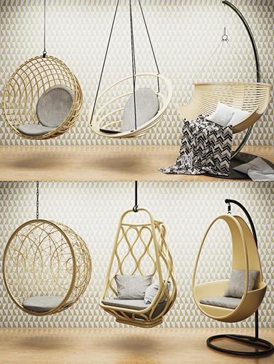 現代吊椅秋千3D模型【ID:728063189】