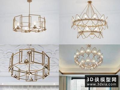 現代金属吊燈国外3D模型【ID:829343701】