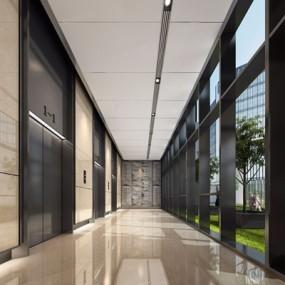现代电梯厅3D模型【ID:427975943】