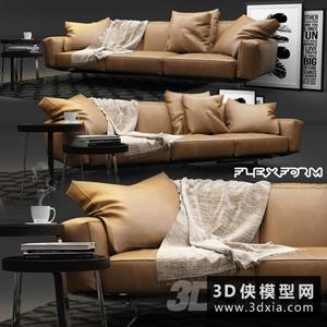 現代皮沙發組合國外3D模型【ID:729323640】