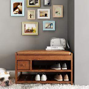 現代實木鞋柜擺件組合3D模型【ID:927818390】