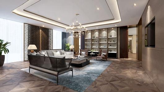 新中式会客厅3D模型【ID:831437113】