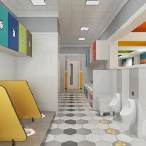 北欧幼儿园卫生间3D模型【ID:131395010】