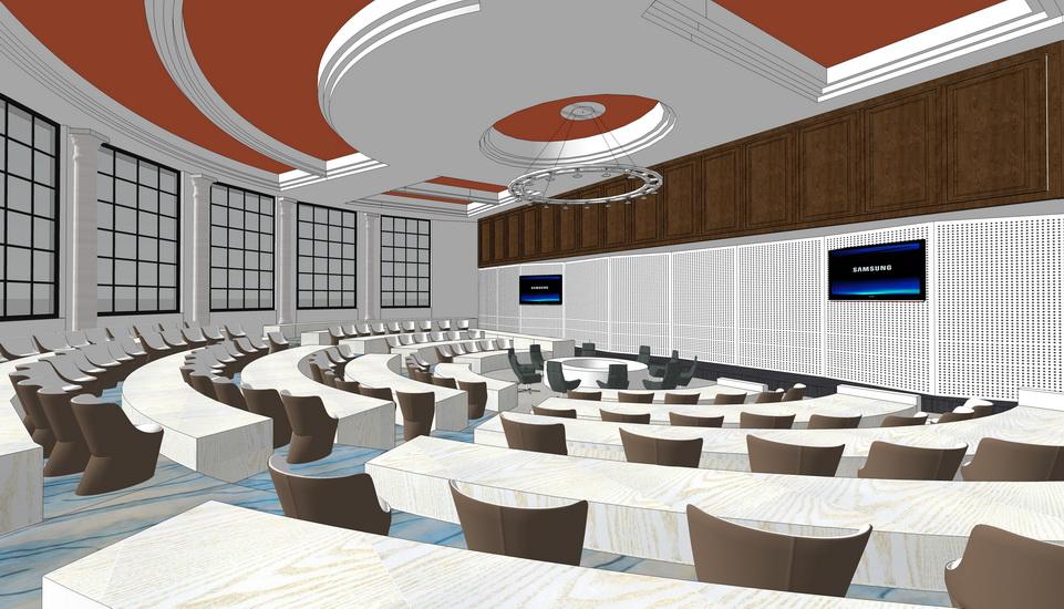 报告厅室内设计SU模型【ID:936578882】