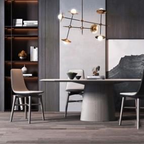 现代餐桌椅组合3D模型【ID:841802897】