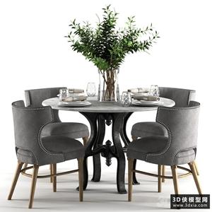 現代餐桌椅組合國外3D模型【ID:729324768】