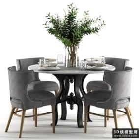 现代餐桌椅组合国外3D模型【ID:729324768】