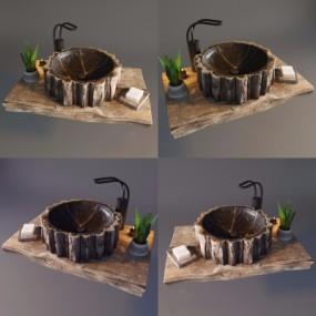 自风风原木台盆洗手盆3D模型【ID:728469796】