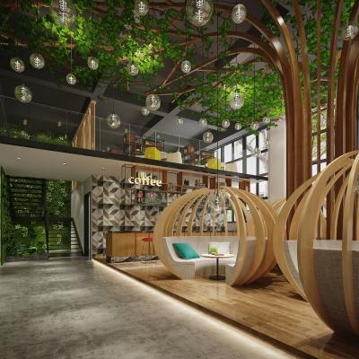 现代咖啡厅3D模型【ID:328438629】