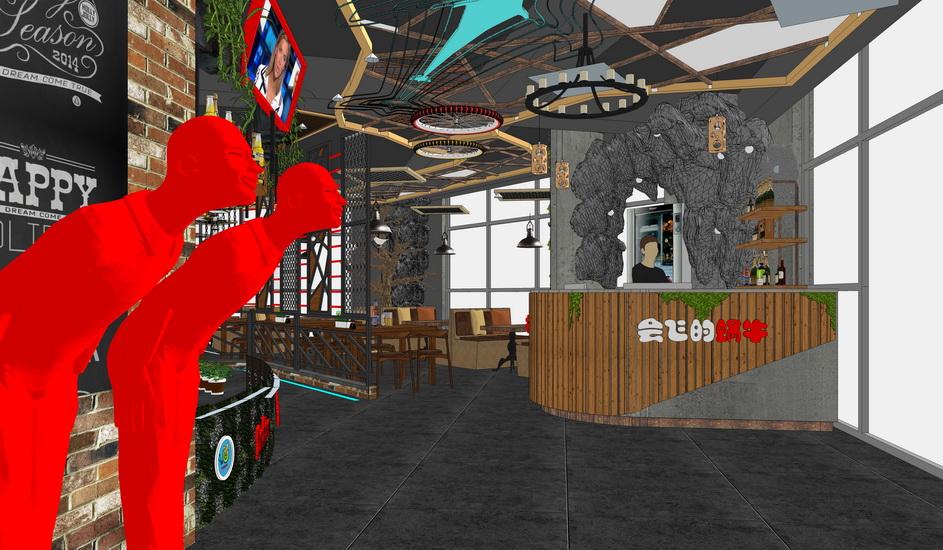 现代工业风餐厅一层室内设计SU模型【ID:636582058】