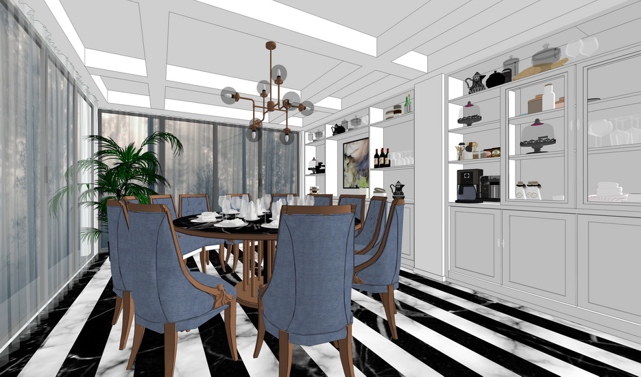 現代餐廳室內設計SU模型【ID:536583362】