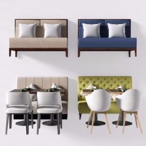 现代实木餐桌椅卡座沙发餐椅组合3D模型【ID:327791431】