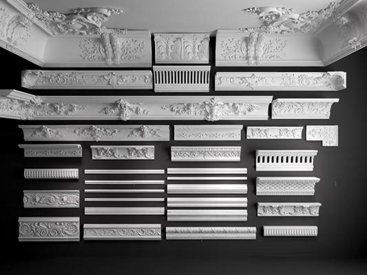 歐式古典雕花石膏線3D模型【ID:828134639】