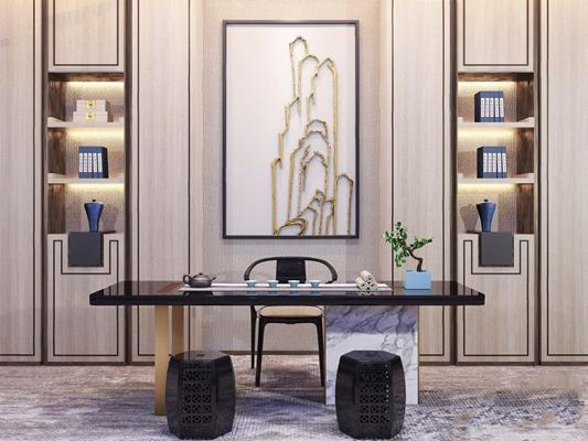 新中式茶桌椅3D模型【ID:328244666】