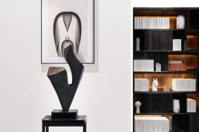 新中式雕塑書柜擺件組合3D模型【ID:327786890】