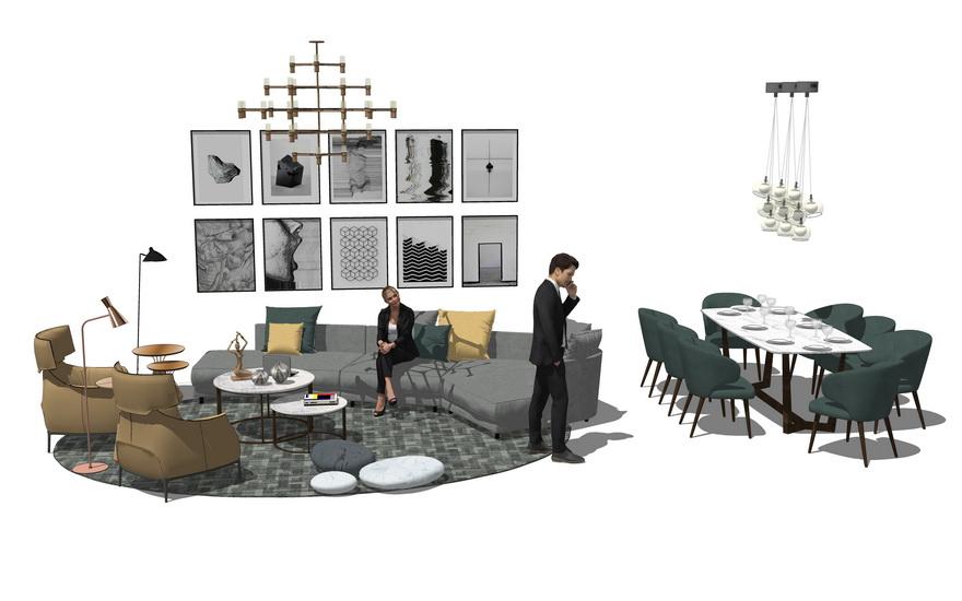 意式风格客厅餐厅家具组合SU模型【ID:736585664】