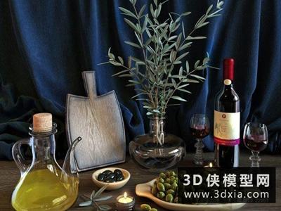 橄欖紅酒組合國外3D模型【ID:929400578】