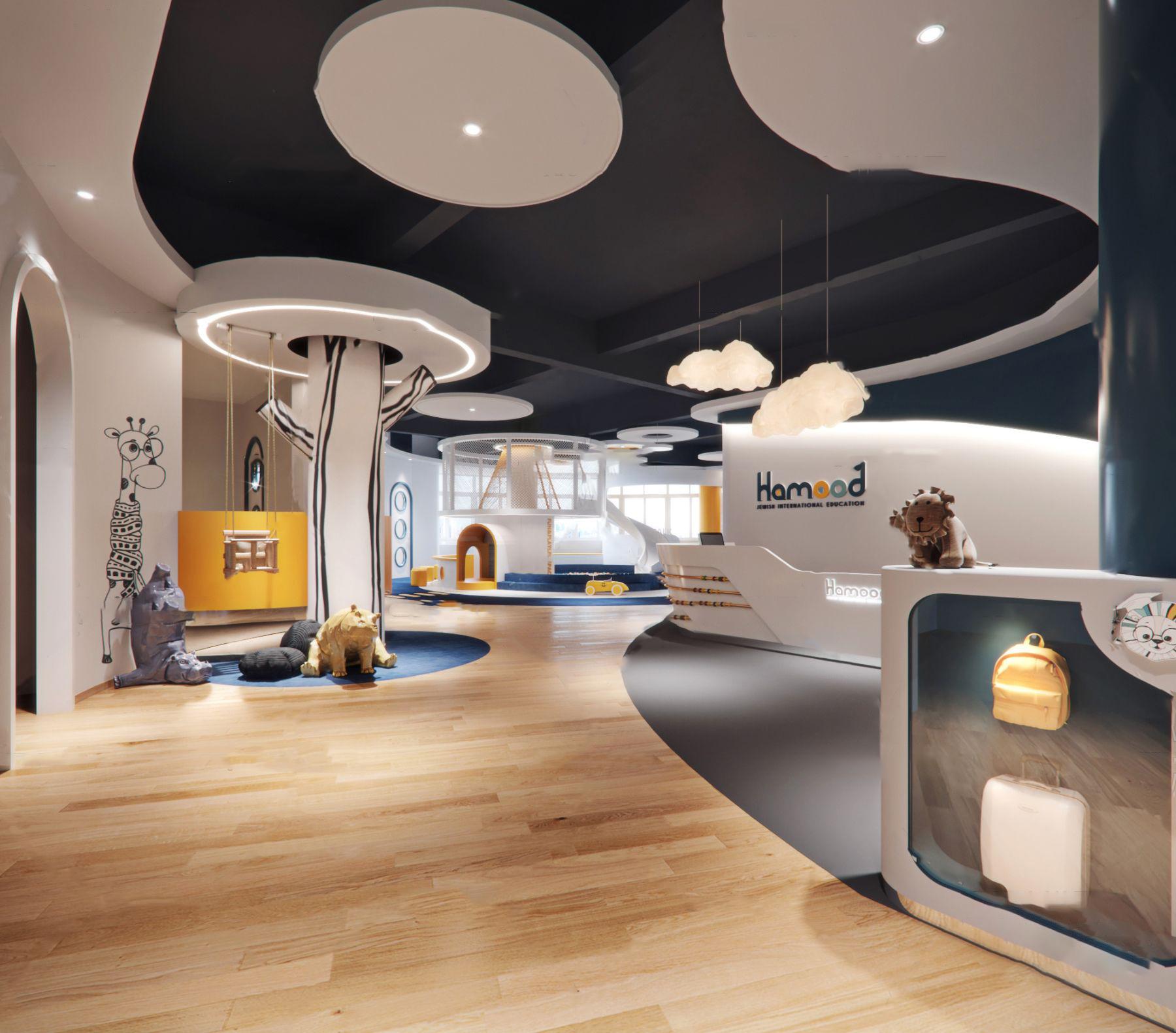 现代幼儿园大厅活动区走廊3D模型【ID:943093640】