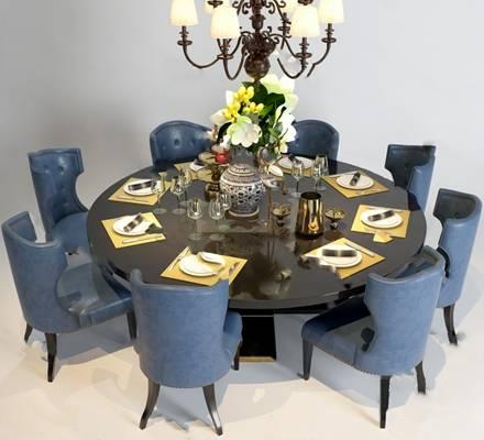 欧式餐桌椅组合3D模型下载【ID:319453404】