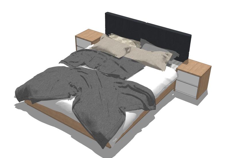 現代雙人床SU模型【ID:536588249】