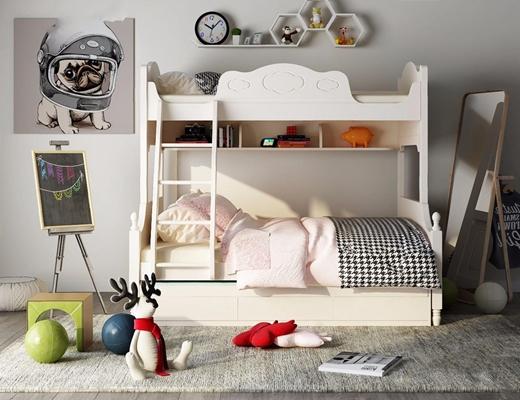 北歐兒童床組合3D模型【ID:628052956】