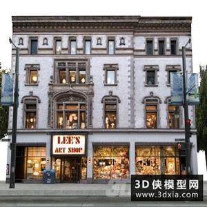 立面背景商店和街道國外3D模型【ID:329329392】