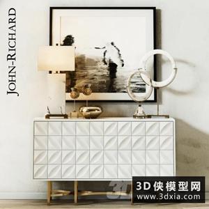 现代装饰柜模型组合国外3D模型【ID:829316092】