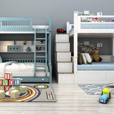 现代实木儿童床3D模型【ID:728469175】