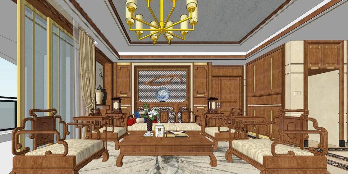 中式風格三房兩廳室內設計SU模型【ID:936590849】