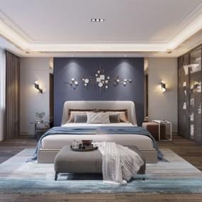 現代輕奢臥室3d模型【ID:546658263】
