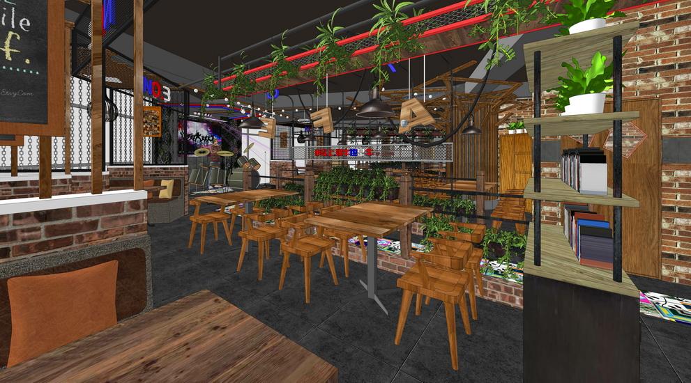 现代工业风餐厅二层室内设计SU模型【ID:636591006】