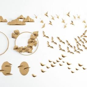 现代金属小鸟山体墙饰挂件3d模型【ID:245862726】