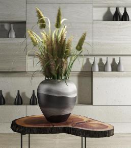 现代边几陶罐花瓶芦苇装饰架组合3D模型【ID:327785841】