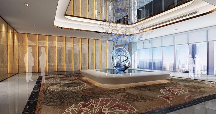 新中式大厅3D模型【ID:427991240】