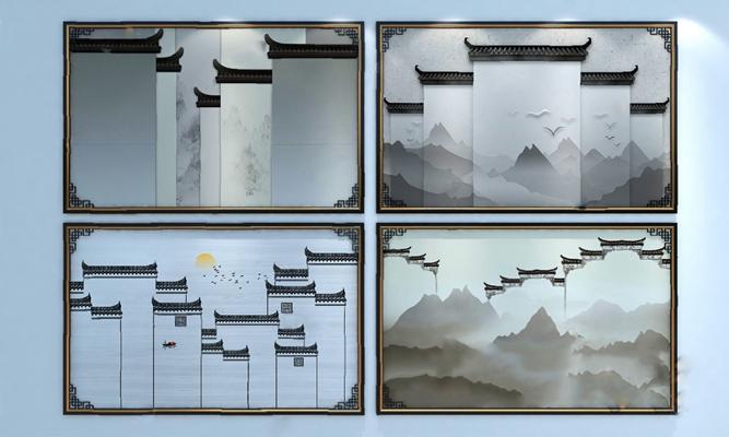 新中式背景墙3D模型【ID:320009555】