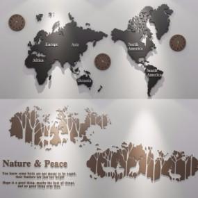 现代挂钟地图装饰墙饰组合3D模型【ID:127767121】