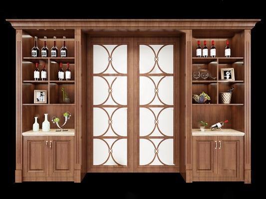 欧式酒柜3D模型【ID:920602051】