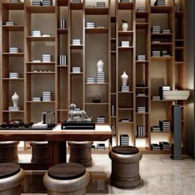 新中式会所品茶室桌椅组合3D模型【ID:127844908】