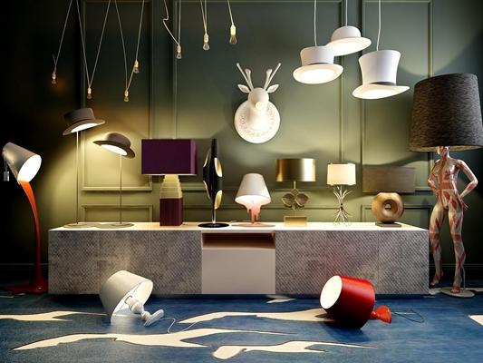 創意臺燈落地燈吊燈壁燈組合3D模型【ID:928160887】