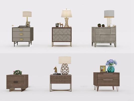 现代实木床头柜组合3D模型【ID:96829664】