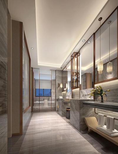 现代酒店卫生间3D模型【ID:96829786】