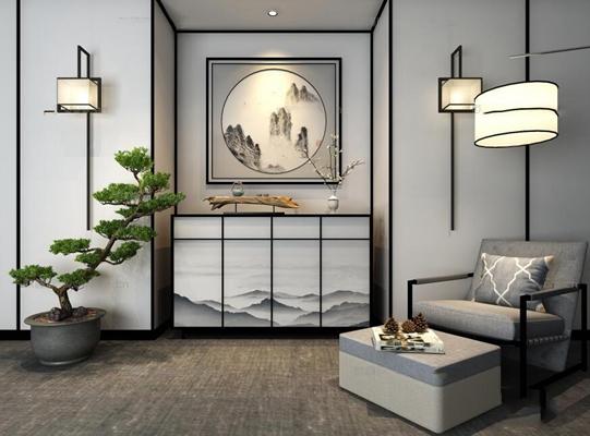 新中式端景柜壁灯休闲沙发盆景树组合3D模型【ID:96829911】