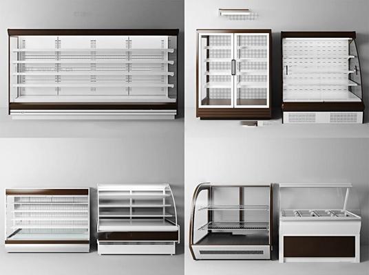 现代超市货架冰柜组合3D模型【ID:96838024】