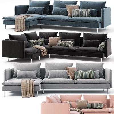 现代布艺转角多人沙发组合3D模型【ID:96862597】