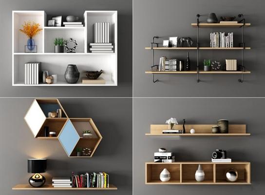 现代实木铁艺装饰架摆件书籍组合3D模型【ID:96862924】