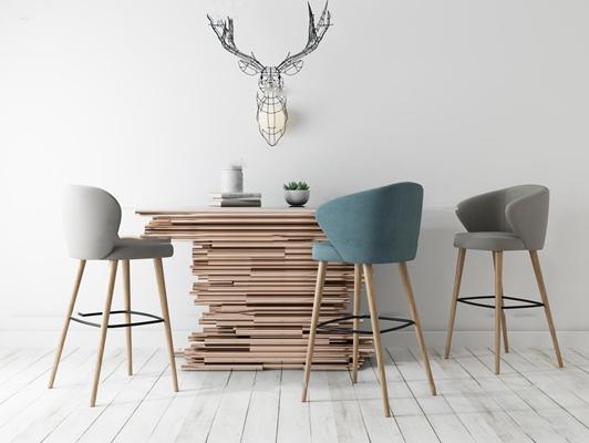现代端景台吧台椅挂件组合3D模型【ID:96863110】