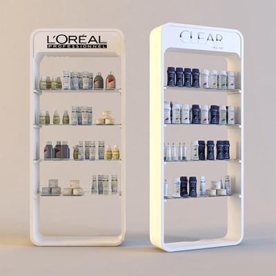 现代洗发水化妆瓶展柜组合3D模型【ID:96863821】